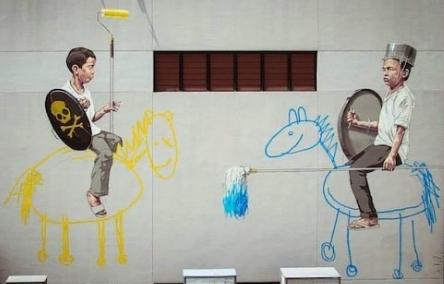 grafitti dzieci na konikach mem