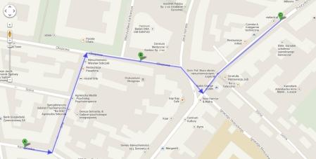 PGP moja trasa do punktu google maps