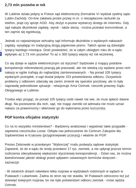 PGP wyborcza e sad i 150 tys przesyłek