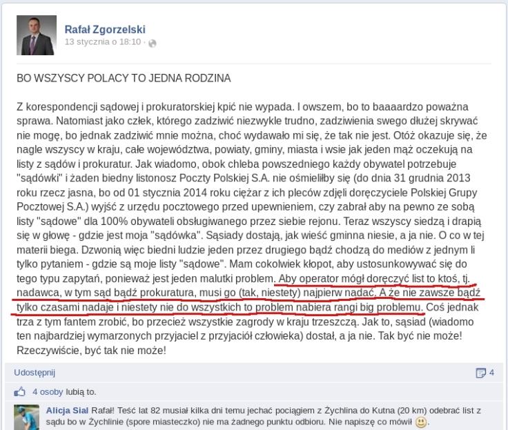 PGP Zgorzel o doręczaniu