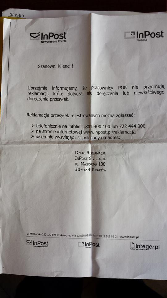 PGP inf o reklamacji inpostu Darek