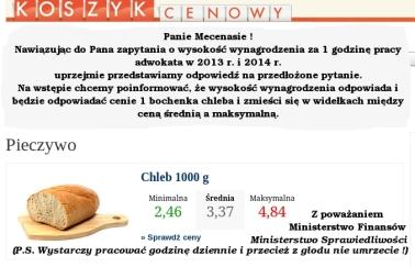 stawki adwokackie chleb
