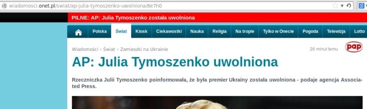 Ukraina Tymoszenko wolna