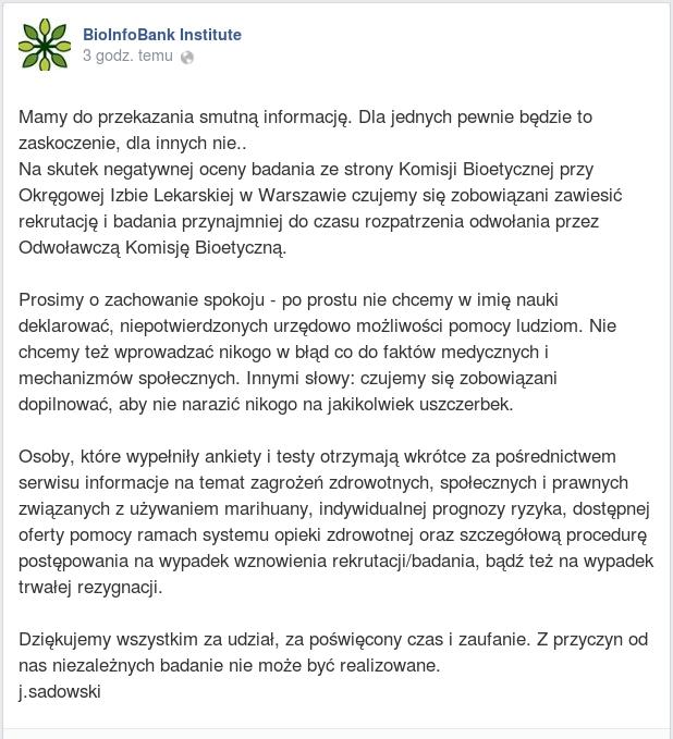 Bioinfobank oświadczenie