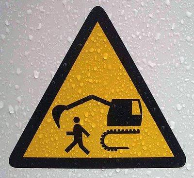 koparka znak drogowy