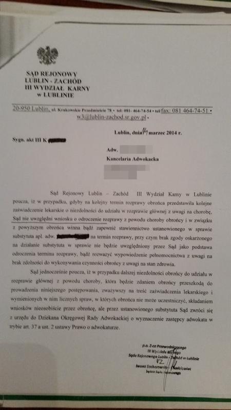 adwokat choruje a sąd na to anonim