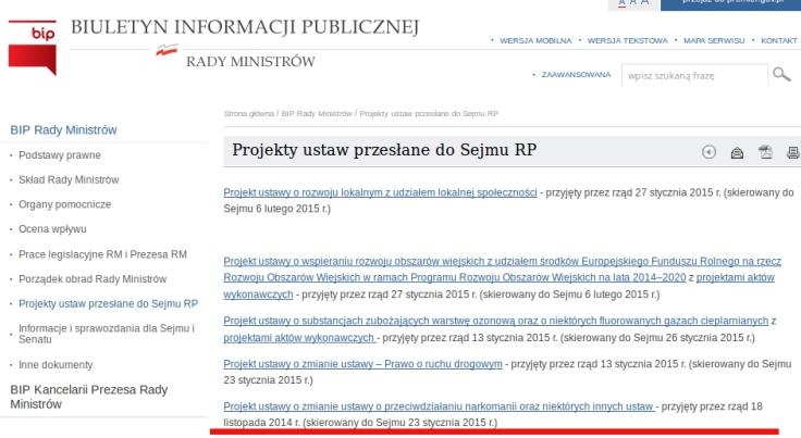 BIP projekt noweli przyjety przez rząd