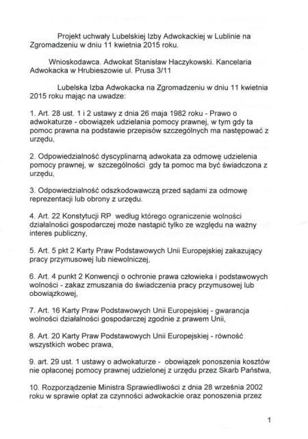 projekt ustawy S. Haczykowskiego