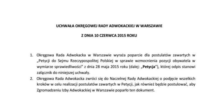 ORA Warszawa popiera petycję