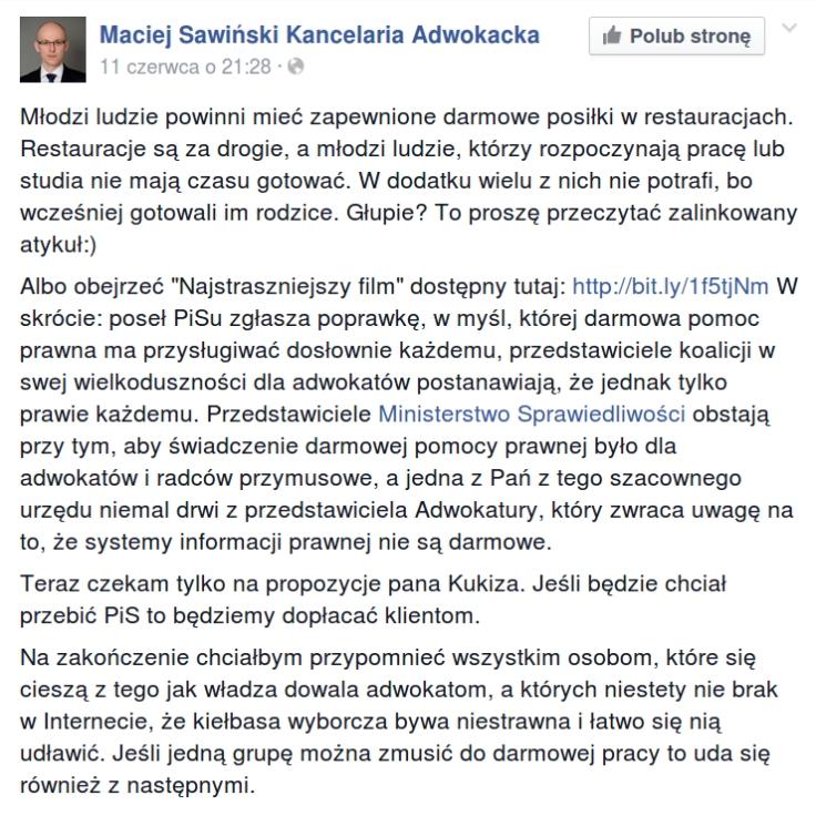 mec Sawiński o darmowej pomocy prawnej