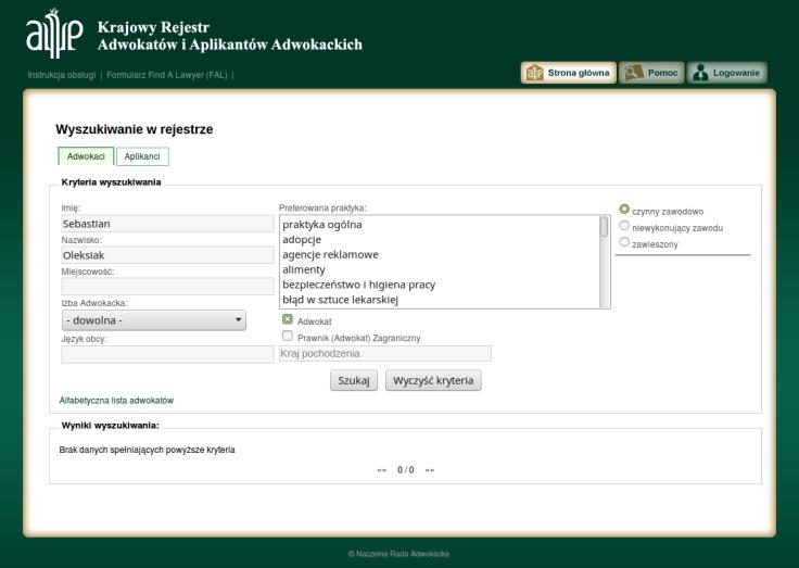 Sebastian Oleksiak w rejestrze adwokatów brak