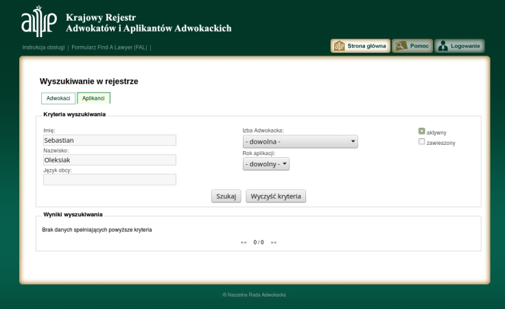 Sebastian Oleksiak w rejestrze aplikantów brak