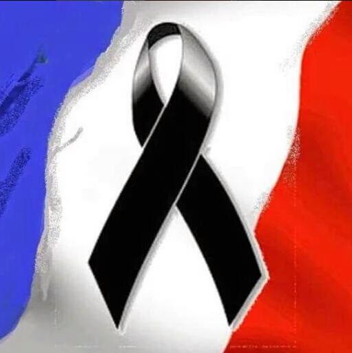 flaga Francji z żałobną wstążką