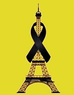 wieża Eiflla in yellowand black